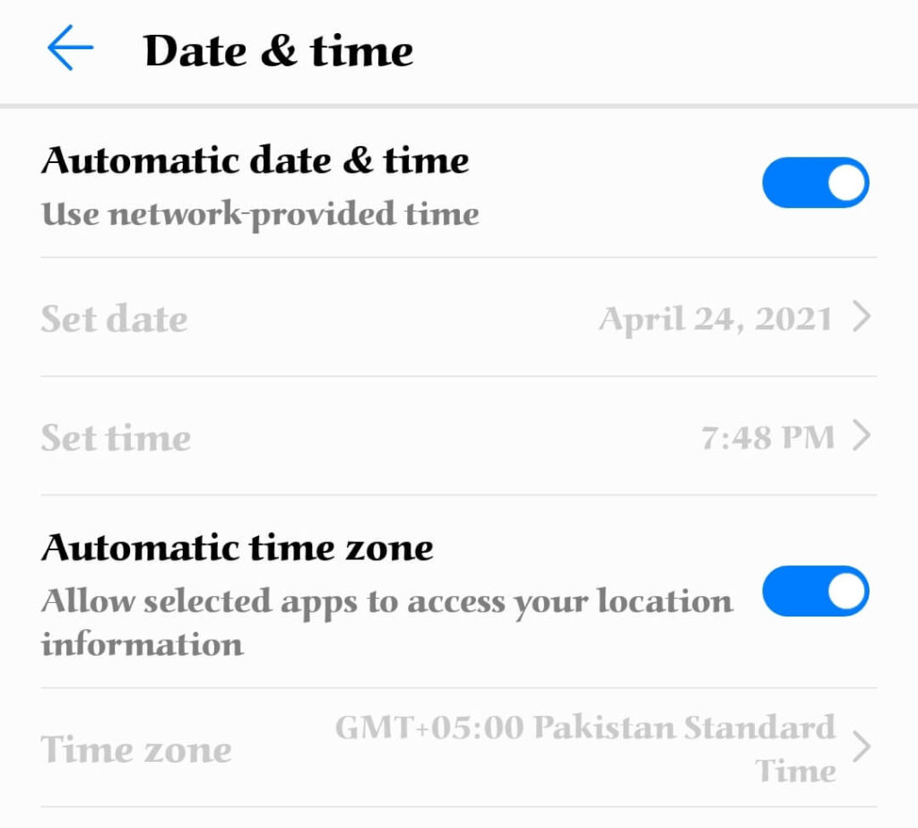 Fix Google Play Store Won't Open Issue by setting date and time