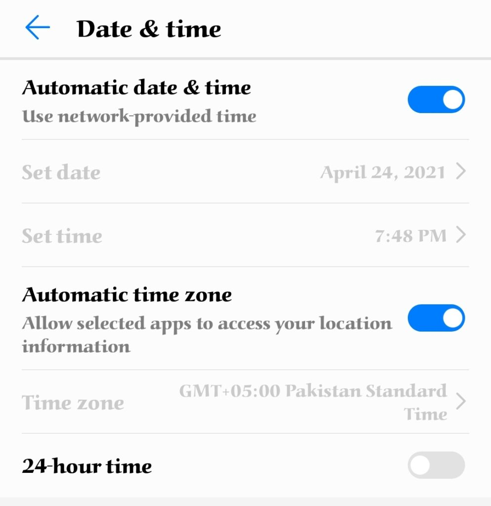 How to fix Google play store not downloading error by setting date and time